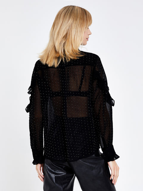 Black Ruffle Detail Embellished Blouse