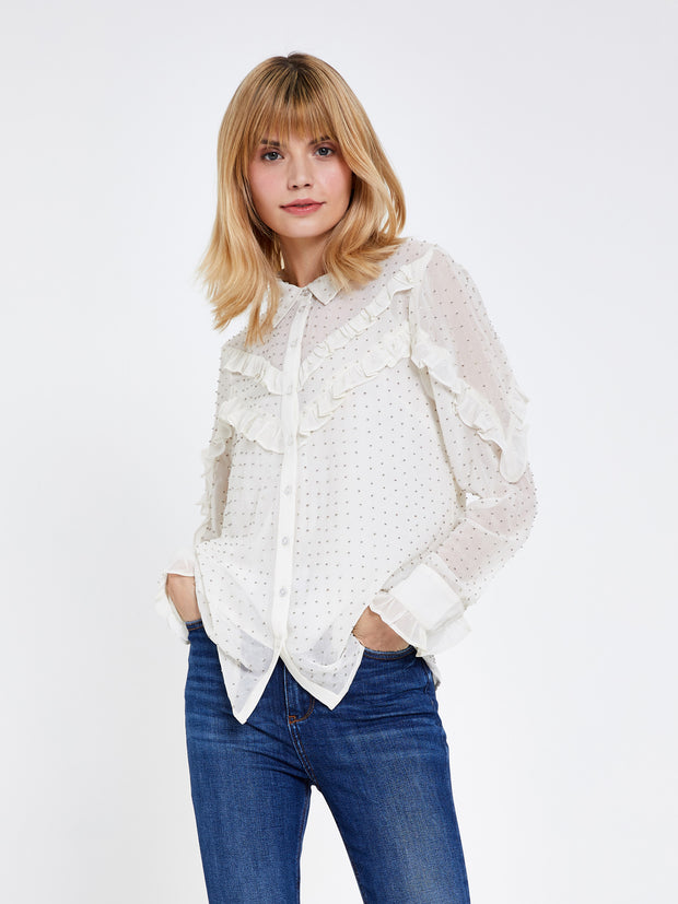 Cream Ruffle Detail Embellished Blouse