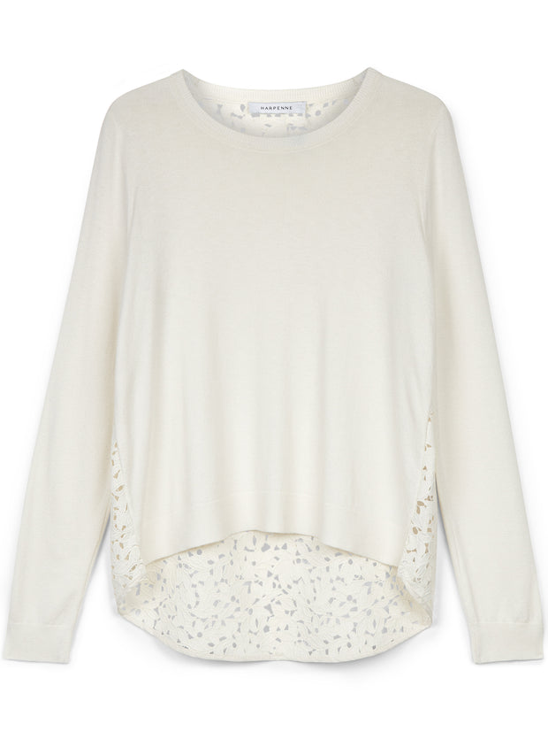 Cream Lace Back Jumper