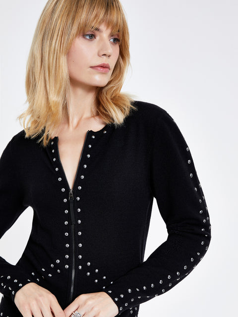 Black Zip Front Stud Detail Cardigan