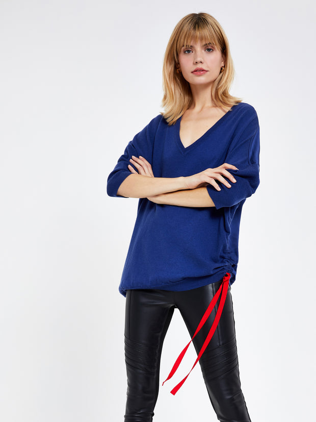Blue Wool-Mix V Neck Jumper