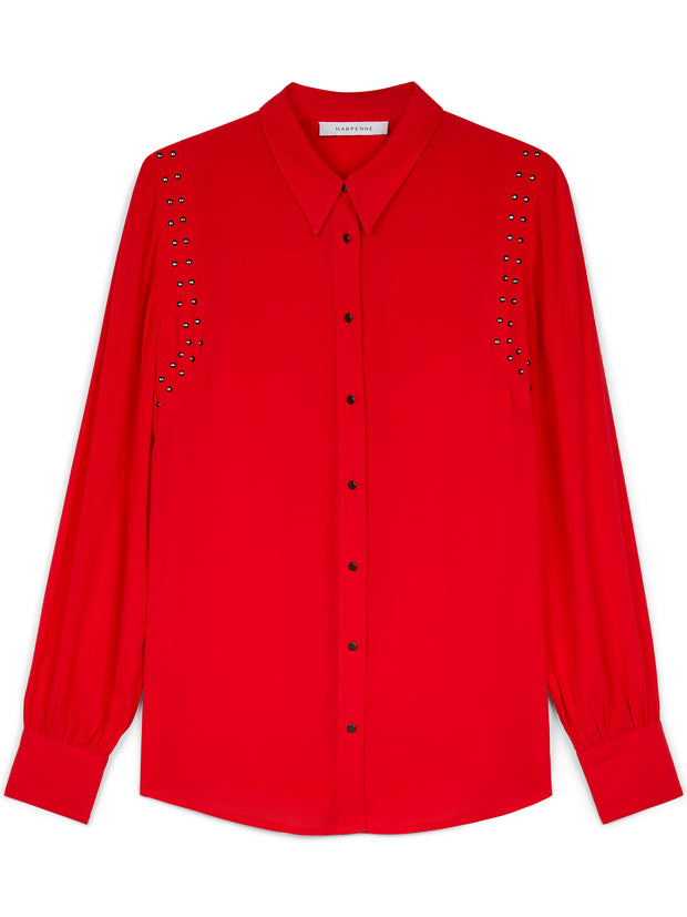 Red Stud Detail Long Sleeve Shirt