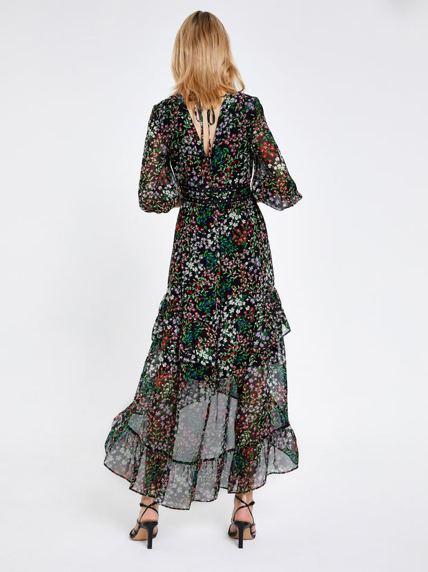 Florence Black Floral Ditsy Midi Dress