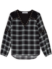 Black Check Eyelet Trim Top