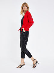 Red Zip Front Stud Detail Cardigan