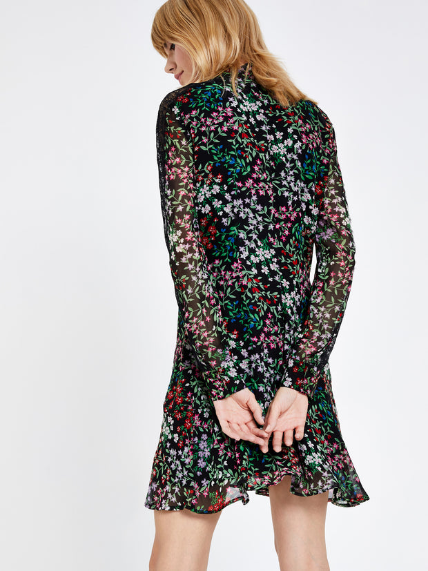 Sofia Black Floral Ditsy Shift Dress