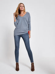Blue Wool-Blend V-Neck Jumper