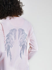 Pink Metallic Angel Wings Print Sweatshirt