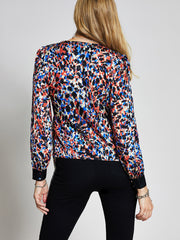 Animal Clash Print Wrap Top