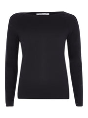 Black Boat Neck Long Sleeve T-Shirt