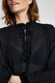 Black Embroidered Long Top