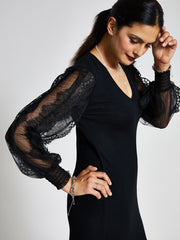 Black Lace Sleeve Jumper Dress