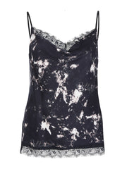 Marble Print Lace Trim Cami Top