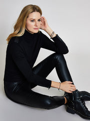 Black Military Roll Neck Jumper