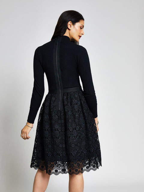 Black Roll Neck Lace Skirt Midi Dress