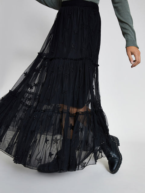 Black Star Embroidered Maxi Skirt