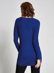 Blue Eyelet Detail Jumper