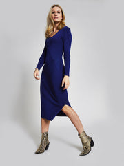 Blue Panelled Knitted Midi Dress