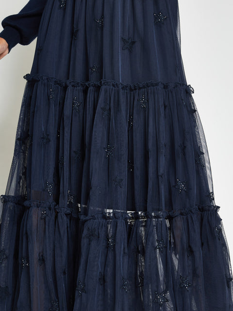 Blue Star Embroidered Maxi Skirt