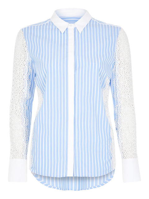 Blue Stripe Lace Detail Shirt
