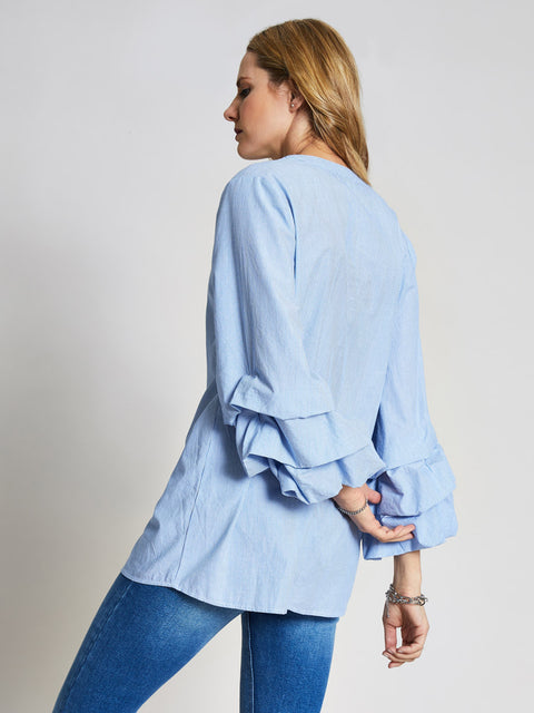 Blue Stripe Ruffle Sleeve Top
