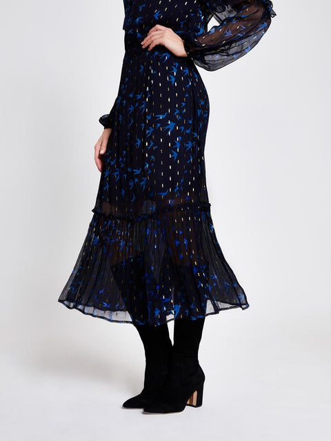 Blue Swallow Print Metallic Midi Skirt