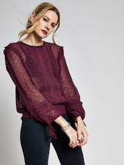 Burgundy Lace Trim Top