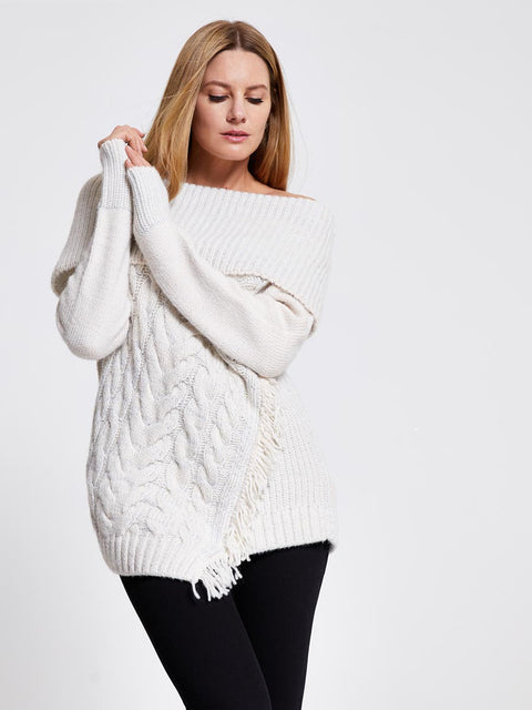 Cream Asymmetric Chunky Knit Jumper
