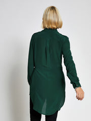 Green Long Line Military Shirt