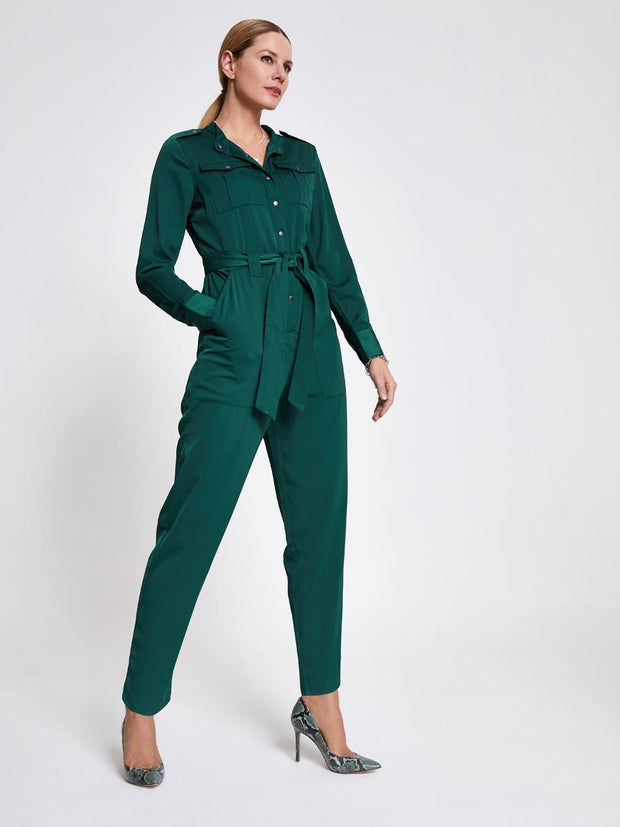 Green Military Satin Jumpsuit