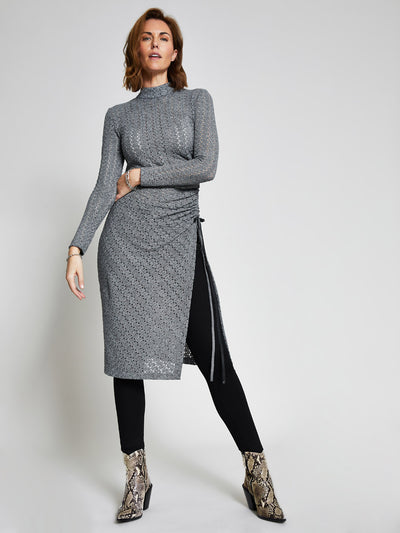 Grey Ruched Crochet Jersey Midi Dress