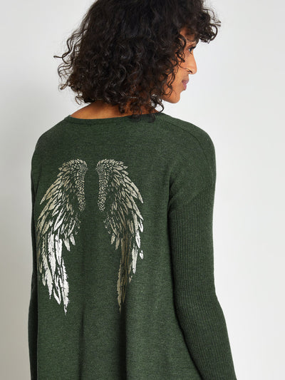 Khaki Angel Wing Print Jumper