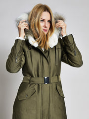 Khaki Faux Fur Trim Parka Coat
