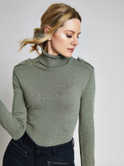 Khaki Military Roll Neck Jumper