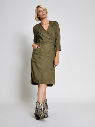 Khaki Military Style Midi Dress