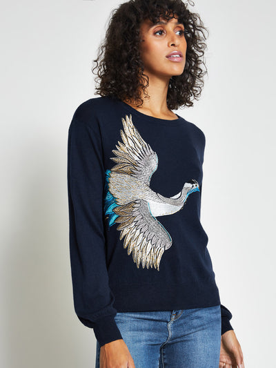 Navy Blue Crane Embroidered Jumper