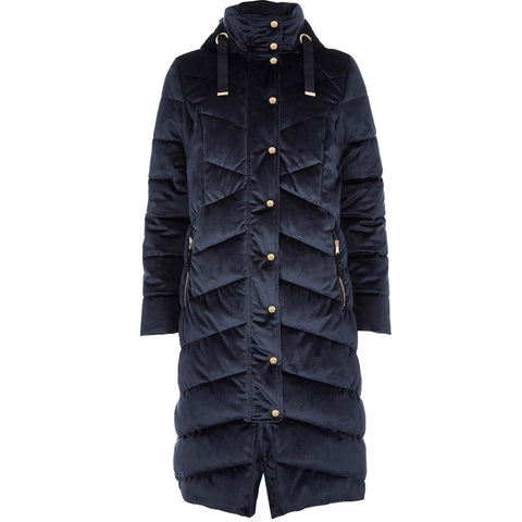 Navy Velvet Padded Quilted Coat