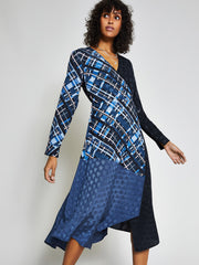 Navy Check Wrap Midi Dress