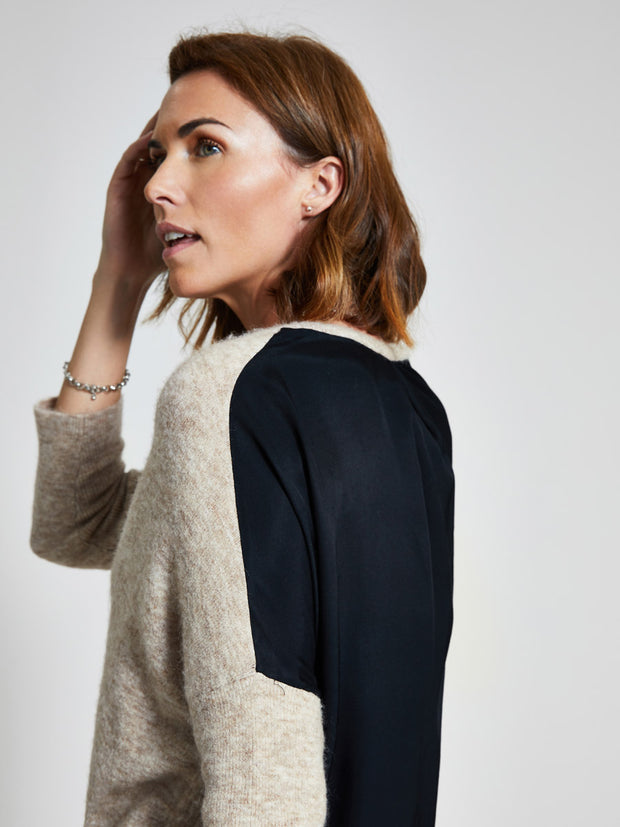 Oatmeal Wool-Blend V-Neck Jumper