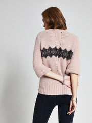 Pink Lace Trim Chunky Knit Jumper