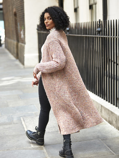 Pink Sparkly Chunky Knit Cardigan