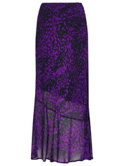 Purple Animal Print Midi Skirt