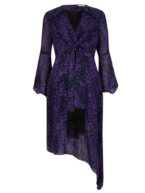 Purple Animal Print Tie Front Midi Dress