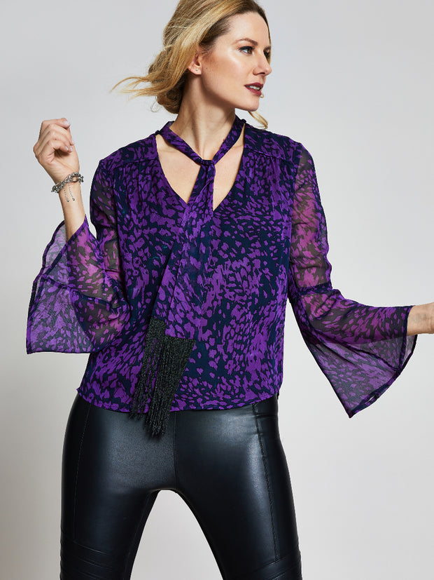 Purple Animal Print Fringe Scarf Top