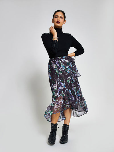 Purple Floral Ruffle Wrap Skirt