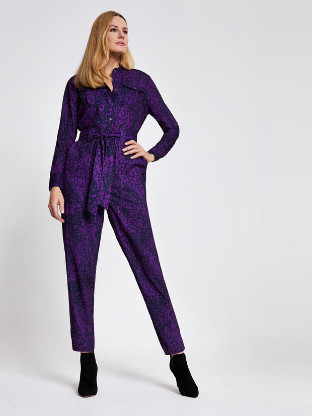 Purple Animal Print Military Jumpsuit