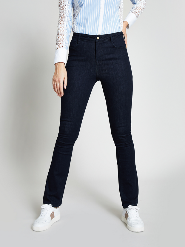 Blue Mid Rise Stretch Bootcut Jeans