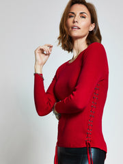 Red Eyelet Detail Jumper