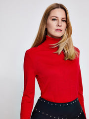 Red Military Roll Neck Jumper