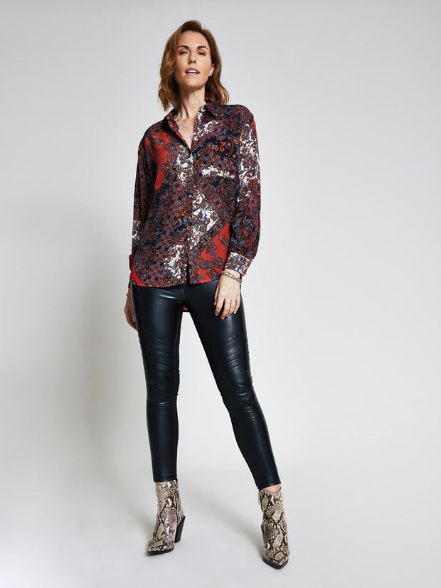 Red Paisley Print Blouse